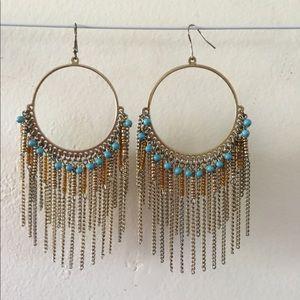 Jewelry - Large Hoop Dangle Earrings w/Blue Beacs